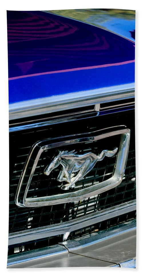1968 Ford Mustang Cobra Gt 350 Grille Emblem Bath Sheet featuring the photograph 1968 Ford Mustang Cobra Gt 350 Grille Emblem by Jill Reger