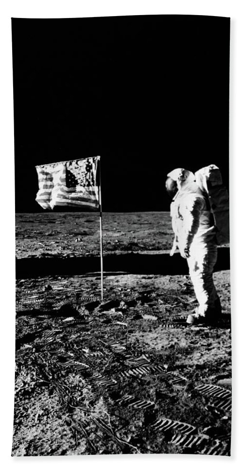Photography Bath Towel featuring the photograph 1969 Astronaut Us Flag And Leg Of Lunar by Vintage Images