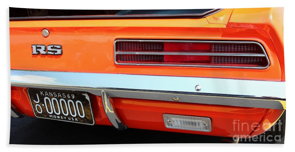 1969 Chevrolet Camaro Rs Hand Towel featuring the photograph 1969 Chevrolet Camaro Rs - Orange - Rear End - 7609 by Gary Gingrich Galleries