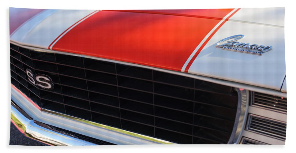 1969 Chevrolet Camaro Rs-ss Indy Pace Car Replica Grille Bath Sheet featuring the photograph 1969 Chevrolet Camaro Rs-ss Indy Pace Car Replica Grille - Hood Emblems by Jill Reger