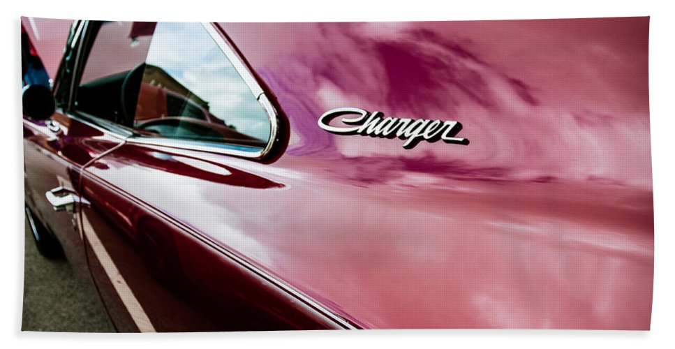 Automobile Hand Towel featuring the photograph 1969 Dodge Charger by Lauri Novak