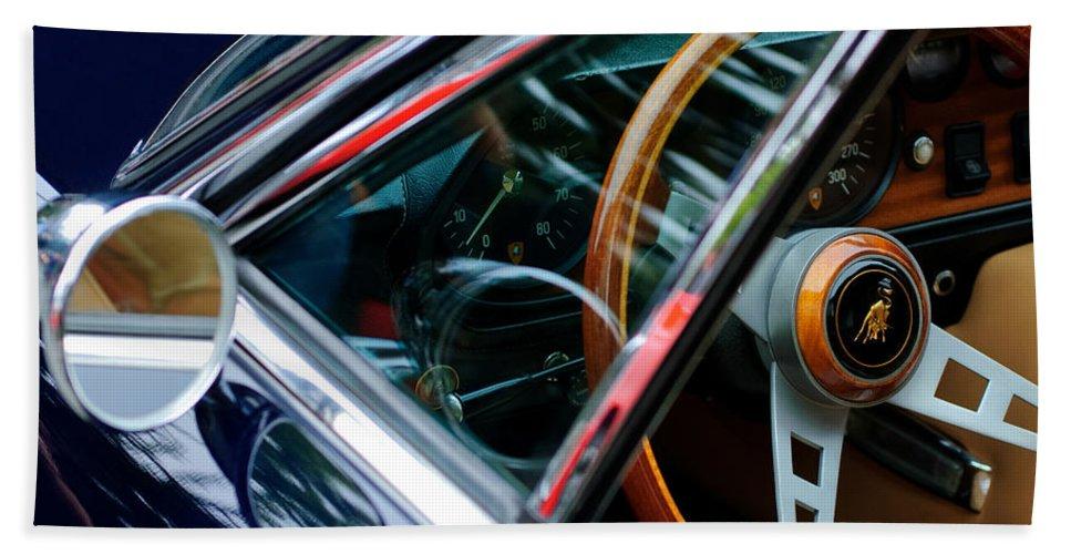 1969 Lamborghini Islero Steering Wheel Emblem Bath Sheet featuring the photograph 1969 Lamborghini Islero Steering Wheel Emblem by Jill Reger