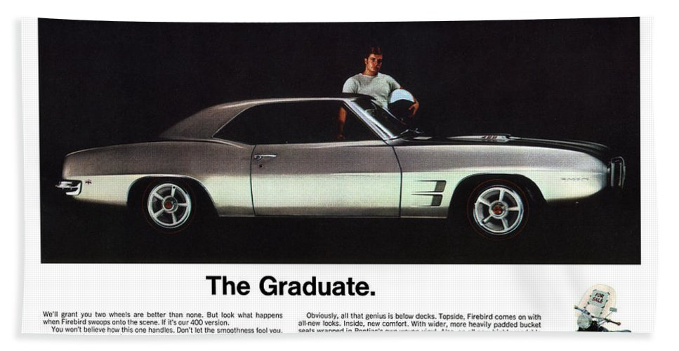 1969 Bath Sheet featuring the digital art 1969 Pontiac Firebird 400 - The Graduate by Digital Repro Depot