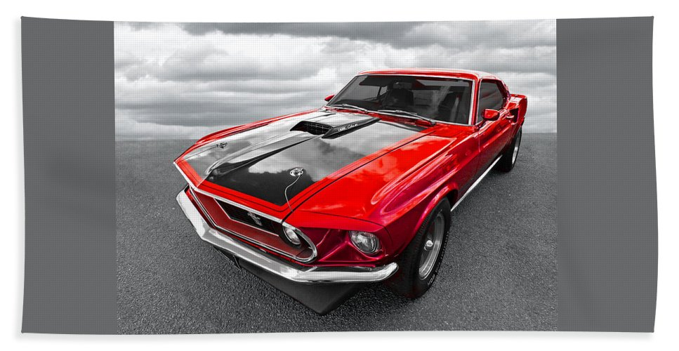 Classic Mustang Hand Towel featuring the photograph 1969 Red 428 Mach 1 Cobra Jet Mustang by Gill Billington