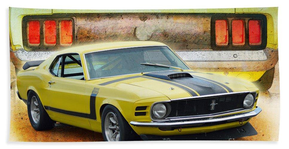 1970 Bath Sheet featuring the photograph 1970 Boss 302 Mustang by Stuart Row
