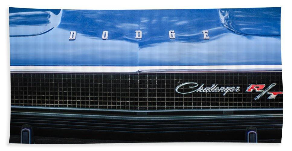 1970 Dodge Challenger Rt Convertible Grille Emblem Bath Sheet featuring the photograph 1970 Dodge Challenger Rt Convertible Grille Emblem -0545c by Jill Reger