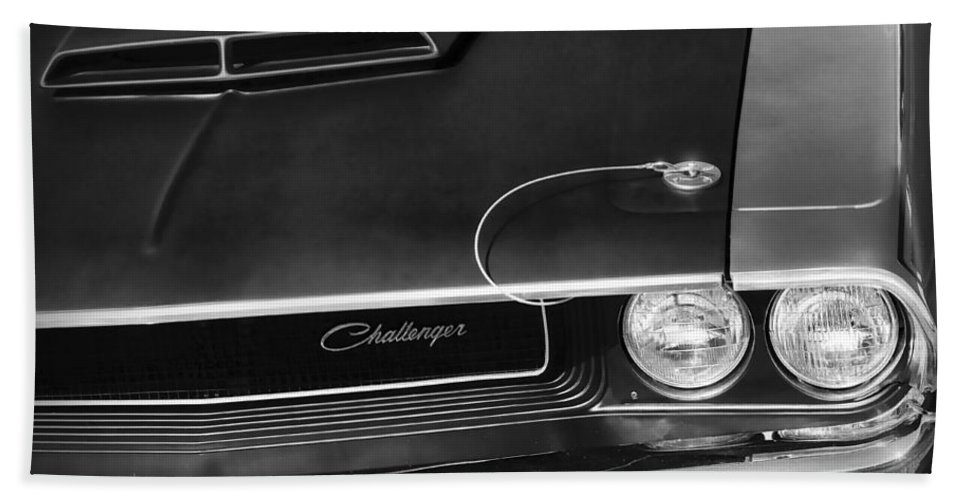 1970 Hand Towel featuring the photograph 1970 Dodge Challenger T/a In Black And White by Gordon Dean II