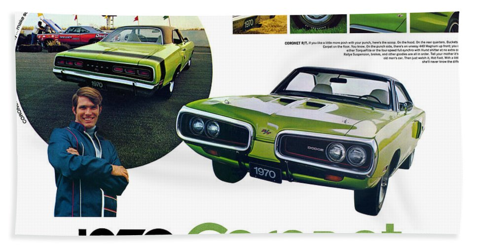 1970 Hand Towel featuring the digital art 1970 Dodge Coronet R/t by Digital Repro Depot