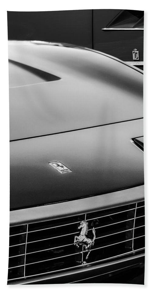 1971 Ferrari 365 Gtc-4 Grille Emblem Bath Sheet featuring the photograph 1971 Ferrari 365 Gtc-4 Grille Emblem -1541bw by Jill Reger