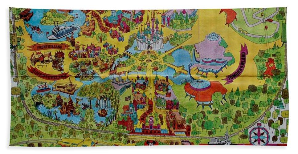 Walt Disney World Hand Towel featuring the photograph 1971 Original Map Of The Magic Kingdom by Rob Hans