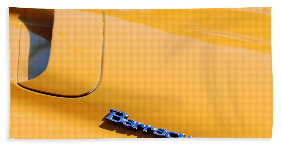 1971 Plymouth Barracuda Convertible Hood Emblem Bath Sheet featuring the photograph 1971 Plymouth Barracuda Convertible Hood Emblem by Jill Reger