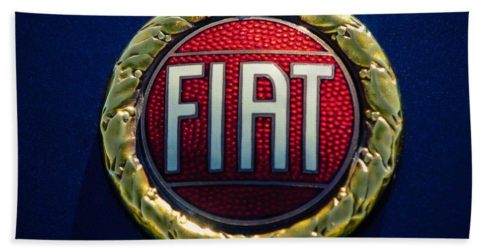 1972 Fiat Dino Spider Emblem Hand Towel featuring the photograph 1972 Fiat Dino Spider Emblem by Jill Reger