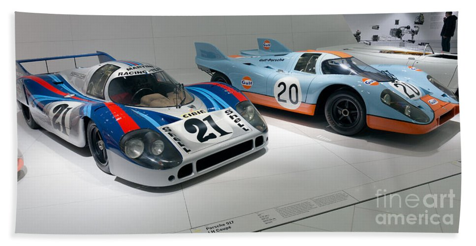3d Hand Towel featuring the photograph 1972 Porsche 917 Lh Coupe And 1970 Porsche 917 Kh Coupe by Paul Fearn