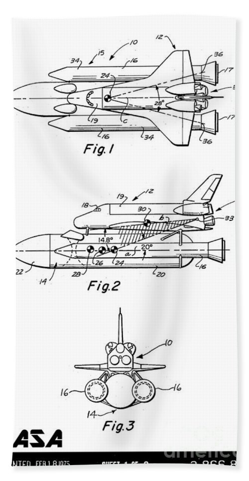 Nasa Bath Sheet featuring the digital art 1975 Nasa Space Shuttle Patent Art 3 by Nishanth Gopinathan