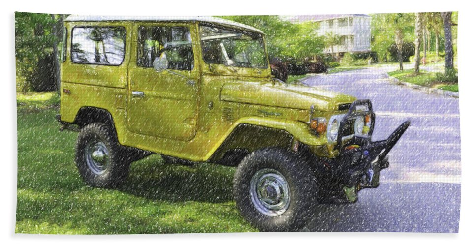 1976 Hand Towel featuring the digital art 1976 Toyota Landcruiser by Dale Powell