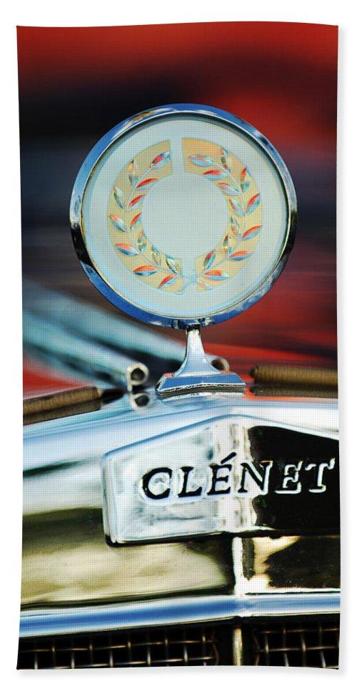 1979 Clenet Hood Ornament Bath Sheet featuring the photograph 1979 Clenet Hood Ornament -176c by Jill Reger