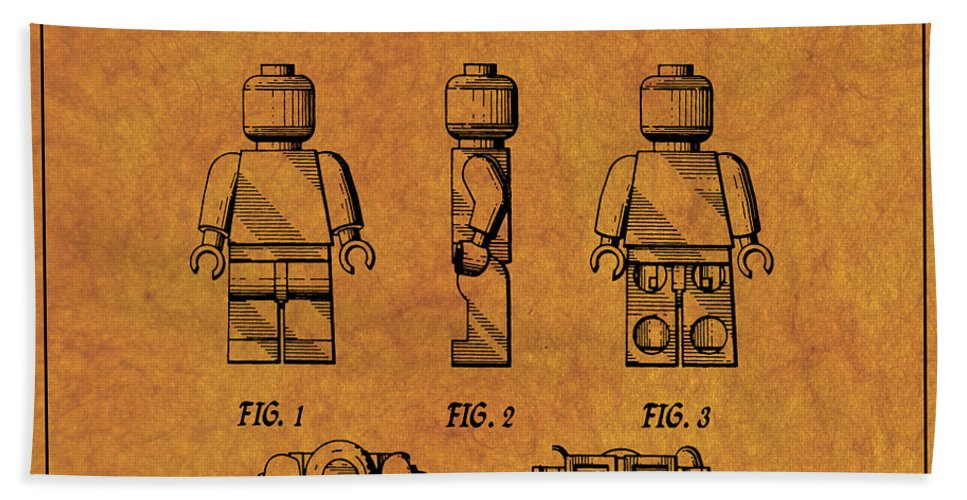Lego Patent Bath Sheet featuring the digital art 1979 Lego Minifigure Toy Patent Art 4 by Nishanth Gopinathan