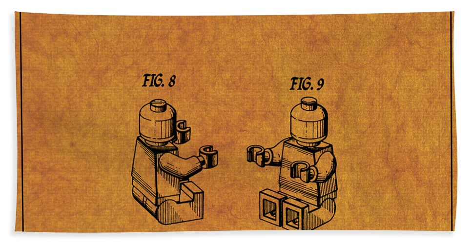 Lego Patent Bath Sheet featuring the digital art 1979 Lego Minifigure Toy Patent Art 6 by Nishanth Gopinathan