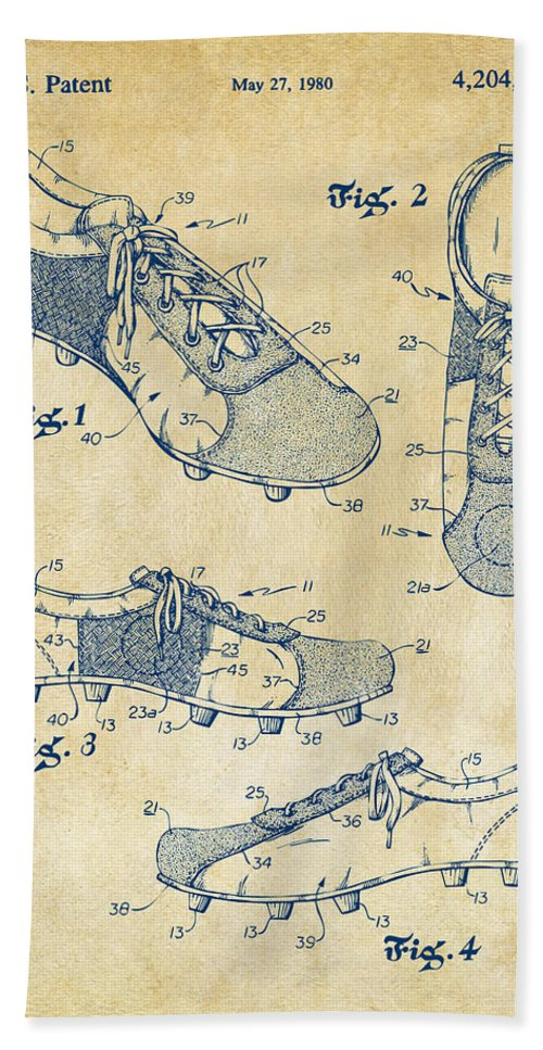 Soccer Hand Towel featuring the digital art 1980 Soccer Shoes Patent Artwork - Vintage by Nikki Marie Smith