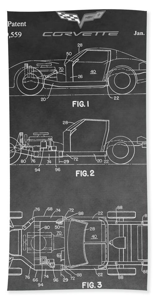 Corvette Patent Hand Towel featuring the digital art 1983 Corvette Patent by Dan Sproul