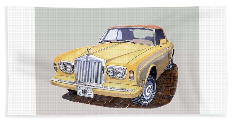 1988 Rolls-royce's Corniche Convertible Artwork By Jack Pumphrey Bath Sheet featuring the painting 1988 Rolls Royce's Corniche Convertible by Jack Pumphrey