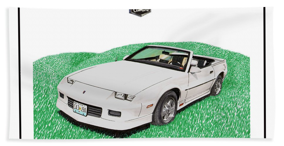 A Watercolor Painting-commission Of A 1989 Camaro Convertible Painted From A Photo Supplied By The Customer. White Camaro Convertibles Bath Sheet featuring the painting 1989 Camaro Convertible by Jack Pumphrey