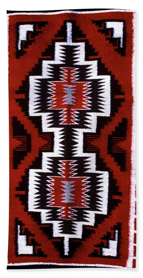 Vertical Bath Towel featuring the painting 1990s Navajo Rug Traditional Patterns by Vintage Images