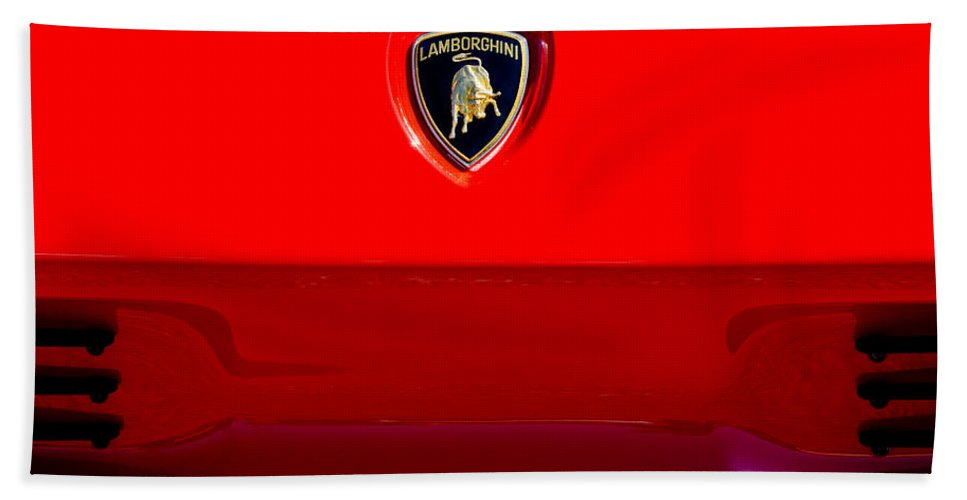 1994 Lamborghini Diablo Coupe Se30 Emblem Bath Sheet featuring the photograph 1994 Lamborghini Diablo Coupe Se30 Emblem by Jill Reger
