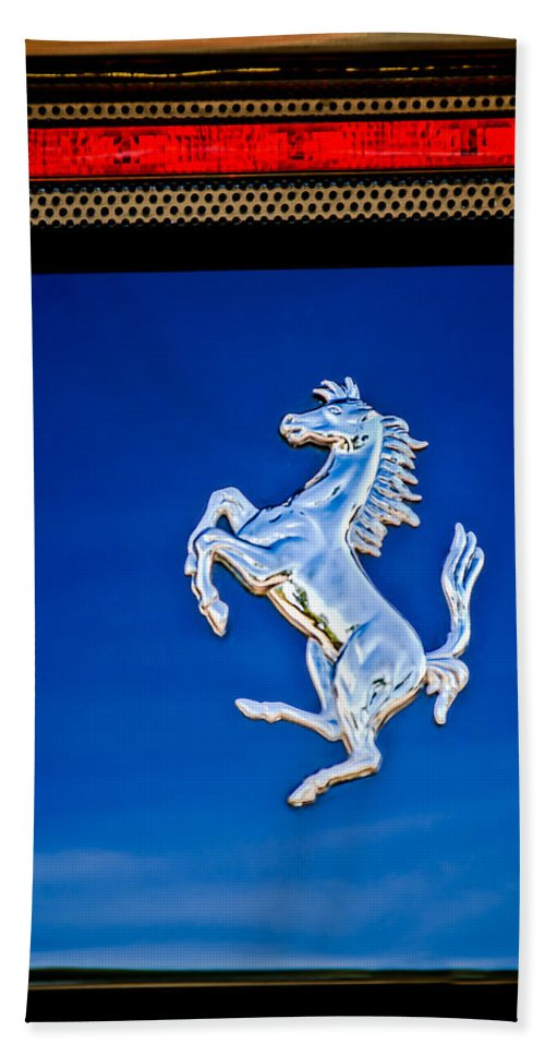 1997 Ferrari F 355 Spider Taillight Emblem Bath Sheet featuring the photograph 1997 Ferrari F 355 Spider Taillight Emblem -135c by Jill Reger
