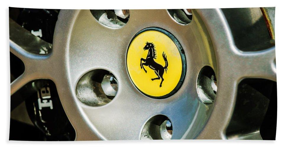 1997 Ferrari F 355 Spider Wheel Emblem Bath Sheet featuring the photograph 1997 Ferrari F 355 Spider Wheel Emblem -201c by Jill Reger