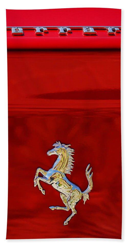 1999 Ferrari 550 Maranello Emblem Hand Towel featuring the photograph 1999 Ferrari 550 Maranello Emblem -651c by Jill Reger