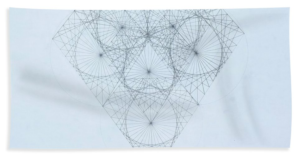 Jason Padgett Bath Sheet featuring the drawing Diamond Quanta by Jason Padgett