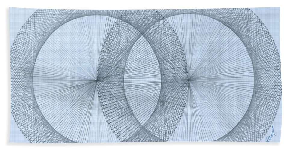 Magnet Bath Sheet featuring the drawing  Magnetism by Jason Padgett