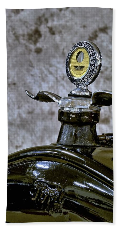 1926 Bath Sheet featuring the photograph 1926 Ford Model T Radiator Ornament by Michael Gordon