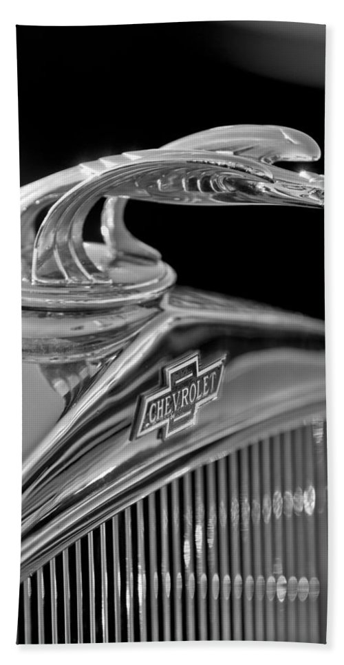1931 Chevrolet Hood Ornament Hand Towel featuring the photograph 1931 Chevrolet Hood Ornament by Jill Reger