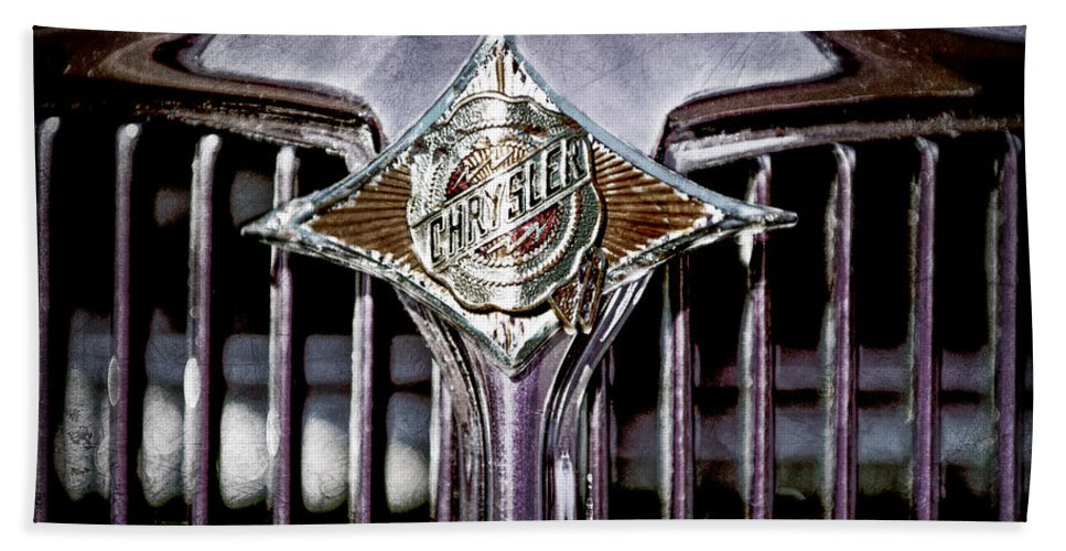 1933 Chrysler Sedan Grille Emblem Hand Towel featuring the photograph 1933 Chrysler Sedan Grille Emblem by Jill Reger