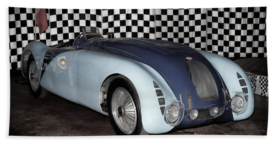 1936 Bugatti 57g Tank Bath Sheet featuring the photograph 1936 Bugatti 57g Tank by Boris Mordukhayev