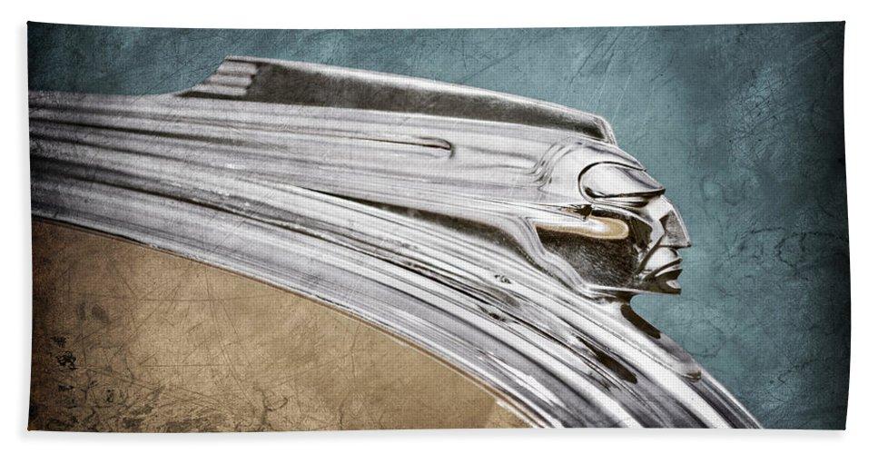 1941 Pontiac Hood Ornament Hand Towel featuring the photograph 1941 Pontiac Hood Ornament by Jill Reger