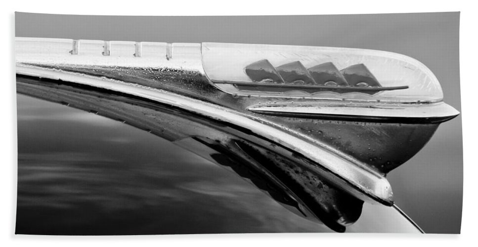 1947 Plymouth Hood Ornament Hand Towel featuring the photograph 1947 Plymouth Hood Ornament by Jill Reger