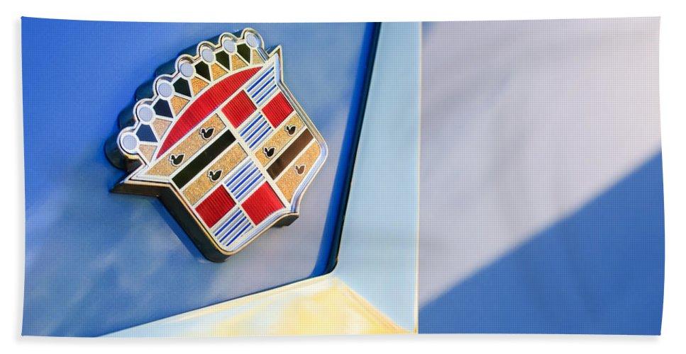 1954 Cadillac Coupe Deville Emblem Bath Sheet featuring the photograph 1954 Cadillac Coupe Deville Emblem by Jill Reger