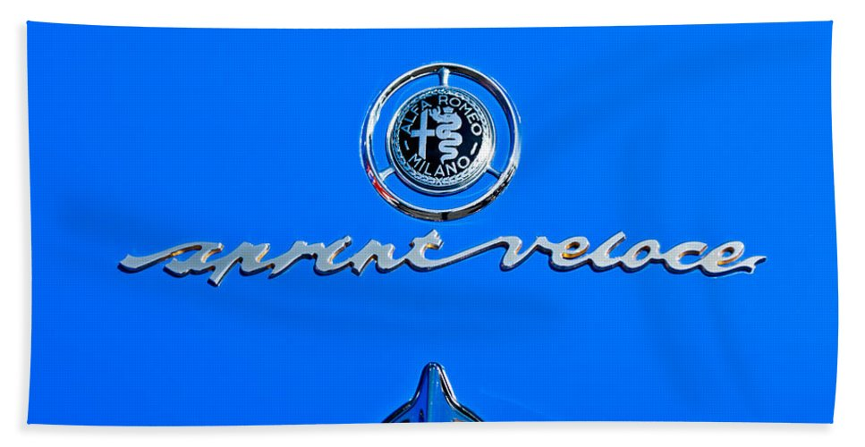 1956 Alfa Romeo Sprint Veloce Coupe Emblem Bath Sheet featuring the photograph 1956 Alfa Romeo Sprint Veloce Coupe Emblem by Jill Reger