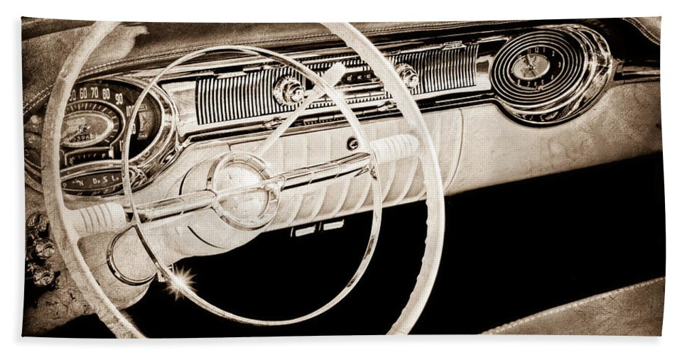 1956 Oldsmobile Starfire 98 Steering Wheel And Dashboard Hand Towel featuring the photograph 1956 Oldsmobile Starfire 98 Steering Wheel And Dashboard by Jill Reger