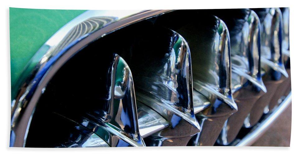 1957 Chevrolet Corvette Bath Sheet featuring the photograph 1957 Chevrolet Corvette Grille by Jill Reger