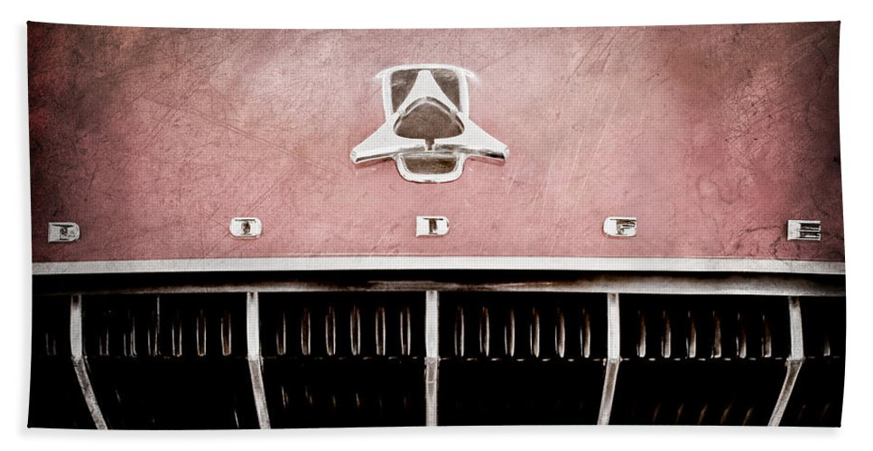 1962 Dodge Polara 500 Emblem Hand Towel featuring the photograph 1962 Dodge Polara 500 Emblem by Jill Reger