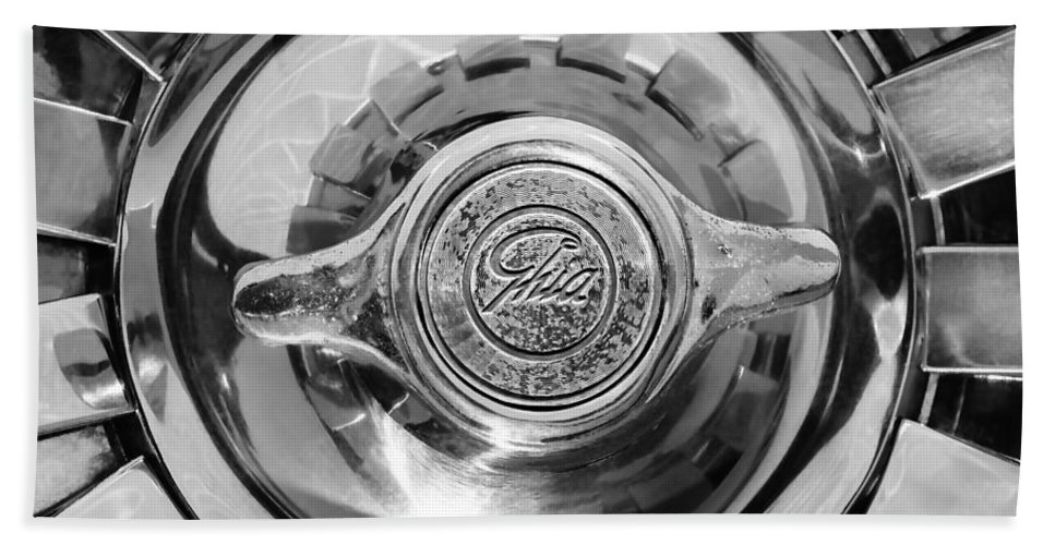 1962 Ghia L6.4 Coupe Wheel Emblem Bath Sheet featuring the photograph 1962 Ghia L6.4 Coupe Wheel Emblem -2169bw by Jill Reger