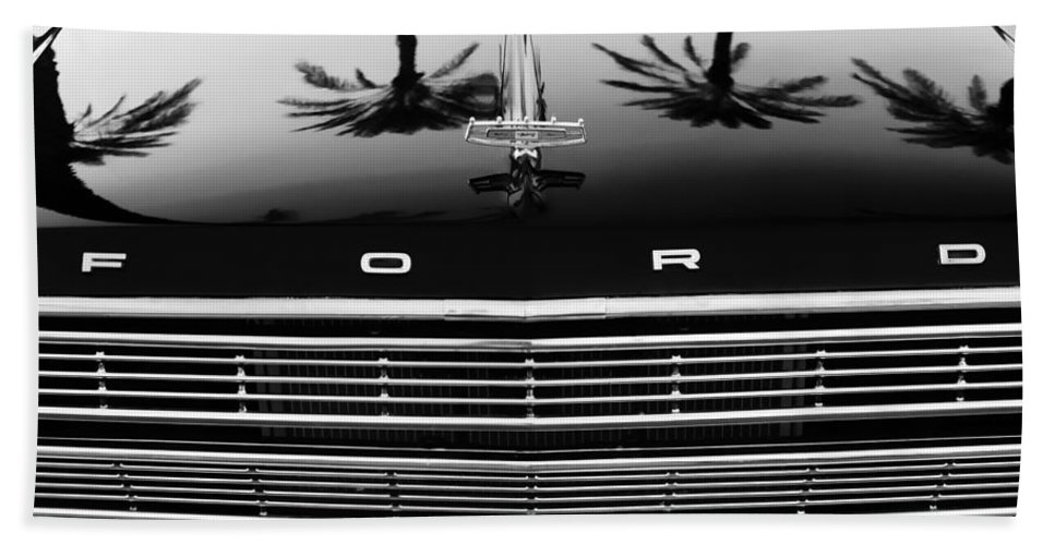 1966 Ford Galaxie 500 Convertible Grille Emblem Hand Towel featuring the photograph 1966 Ford Galaxie 500 Convertible Grille Emblem - Hood Ornament by Jill Reger