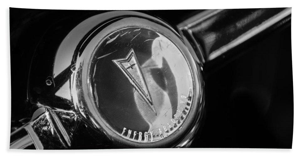 1967 Pontiac Firebird Steering Wheel Emblem Bath Sheet featuring the photograph 1967 Pontiac Firebird Steering Wheel Emblem by Jill Reger