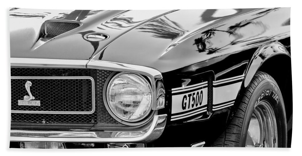 1969 Shelby Cobra Gt500 Front End - Grille Emblem Bath Sheet featuring the photograph 1969 Shelby Cobra Gt500 Front End - Grille Emblem by Jill Reger