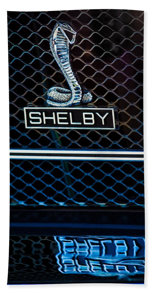 1969 Shelby Gt500 Convertible 428 Cobra Jet Grille Emblem Bath Sheet featuring the photograph 1969 Shelby Gt500 Convertible 428 Cobra Jet Grille Emblem by Jill Reger
