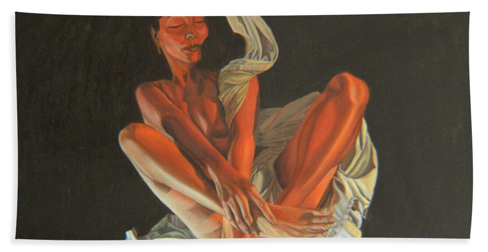 Semi-nude Bath Sheet featuring the painting 2 30 Am by Thu Nguyen